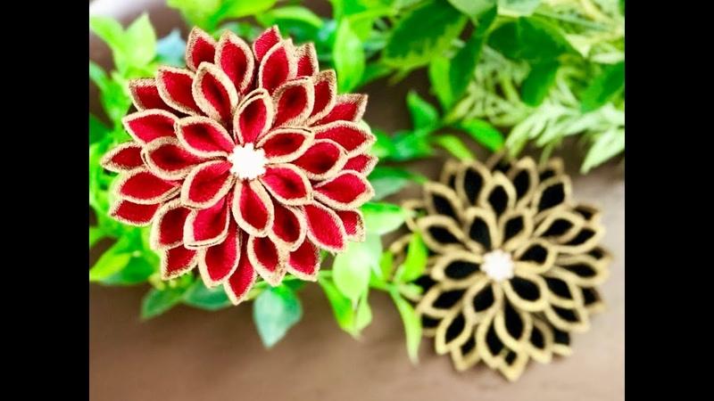 【100均材料だけで つまみ細工】kanzashi flower fabric flower 髪飾り作り方 成人式 卒業式 七五
