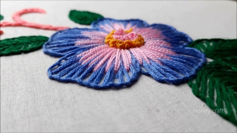 Hand embroidery Button hole stitch Button hole flower design
