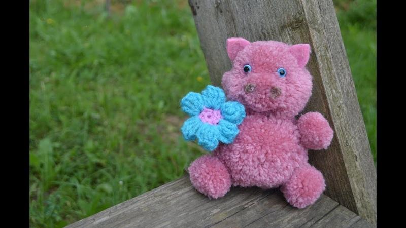 Свинка из помпонов: символ 2019 года своими руками Pig pom pom: DIY