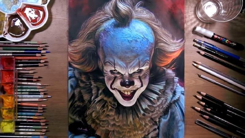 Рисование «Пеннивайза Билла Скарсгарда», из фильма «ОНО: Глава Первая» (Страшный Клоун)