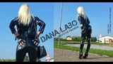 DANA LABO boots my passion - walk in shiny leggings and pvc jacket with latex gloves