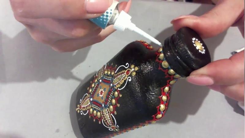 Мастер класс в технике точечной росписи бутылочки. Обучение точечной росписи. Анна Соколова.