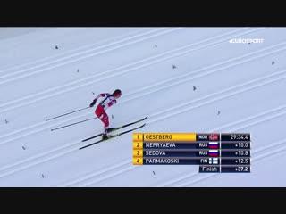 Непряева и Седова включили форсаж на финише, но догнать норвежскую комету Эстберг все равно не вышло