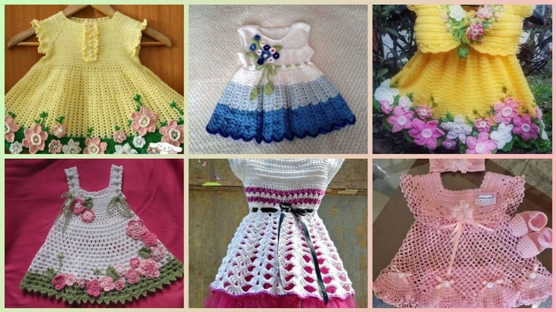 Latest and stylish kids crochet frocks designs collection 2018