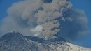 Mt Etna Volcano activity huge columns of ash is causing troubles to the Catania Airport 4k video