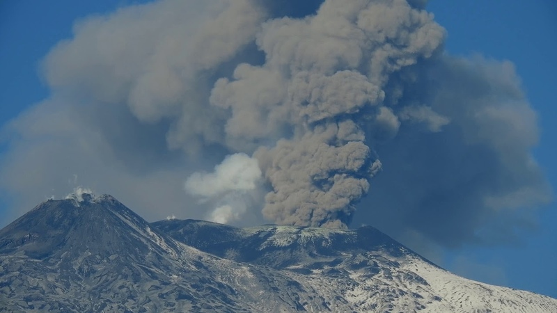 Mt Etna Volcano activity: huge columns of ash is causing troubles to the Catania Airport 4k video