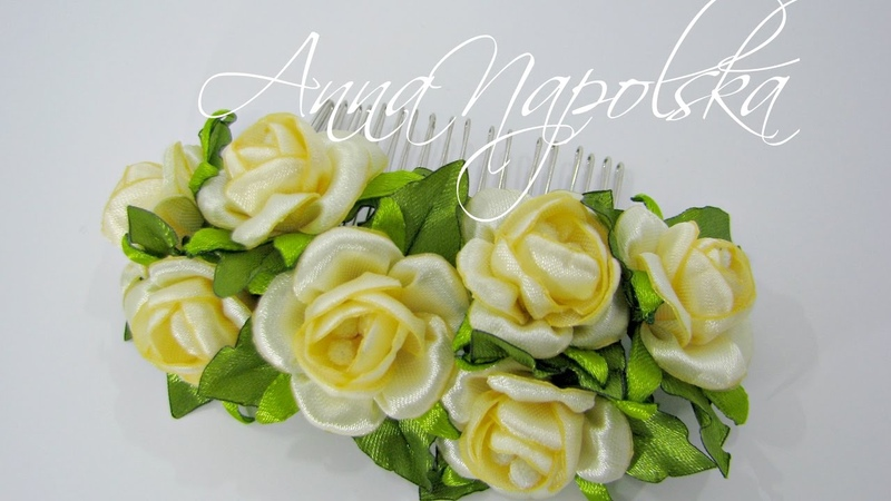 Гребінь з трояндочками канзаши Гребень с розочками своими руками Little roses kanzashi