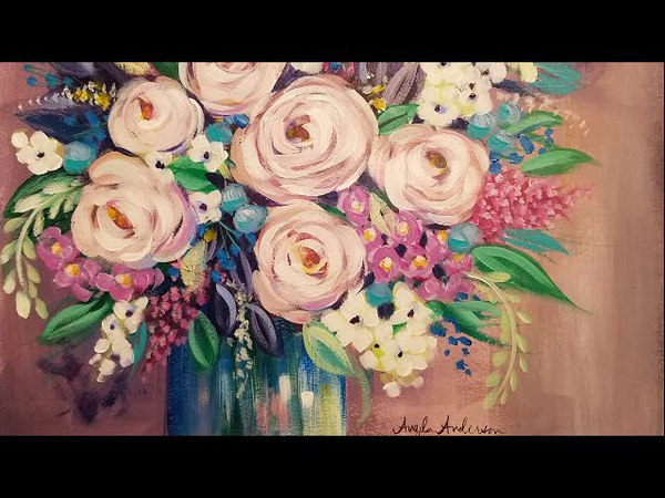 Easy Impressionist Floral Vase Acrylic Painting Tutorial LIVE