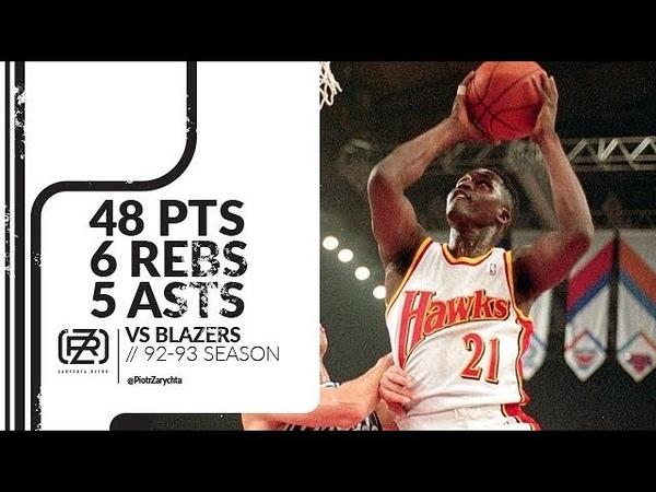 Dominique Wilkins 48 pts 6 rebs 5 asts vs Blazers 92/93 season