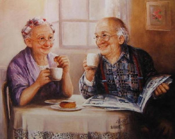 Старички Мы зашли в кафе, выпить чаю. Потому что устали очень. Это хорошее кафе, там всегда тихо и тепло. И чай подают в чайничке синеньком, с узорами, к чайничку пиалы такие же. Недорого. И