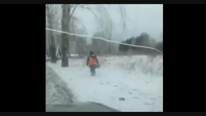 В Красноярске в преддверии Универсиады рабочие косят сухую траву в снегу