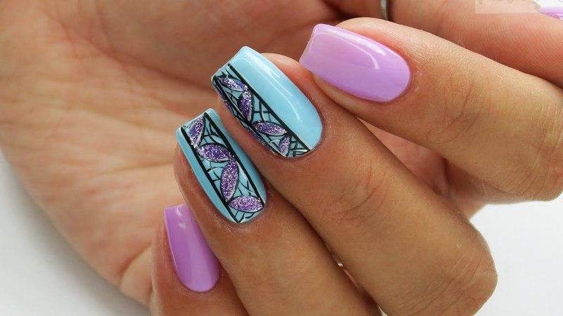 Easy violet and Blue nails art Bluesky Polska