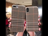 Classic England Retro Checkered Case Celulare For iPhone 8 6 6plus 8Plus X Soft Telefon Kilifi For IPhone 7 Fabric Funda Vintage
