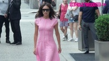 Victoria Beckham Models A Long Pink Dress While Leaving Her Hotel In New York 6.20.18