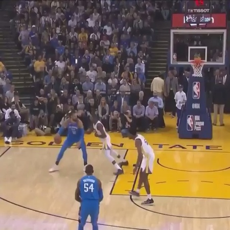 Kevin Durant stares down OKC bench after stripping ball from Adams.