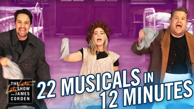22 Musicals In 12 Minutes w/ Lin Manuel Miranda Emily Blunt
