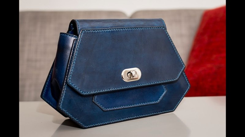 DIY veg tan leather clutch bag purse