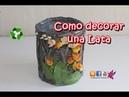 Como reciclar una lata decorada con varillas de papel manualidades faciles