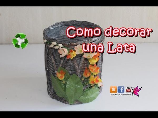 Como reciclar una lata decorada con varillas de papel. manualidades faciles