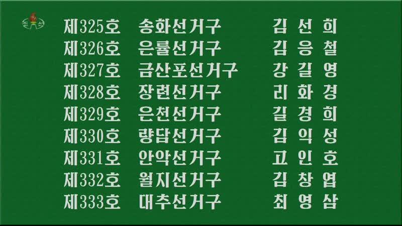 중앙선거위원회 보도 br조선민주주의인민공화국 최고인민회의 제14기 대의원선거결과에 대하여