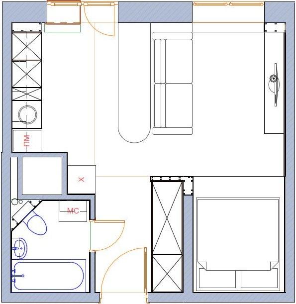 Концепт студии квадратной планировки 30 м.