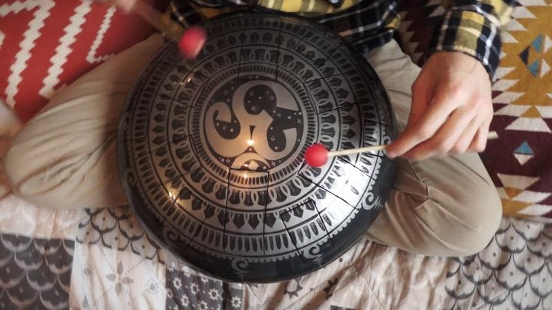 Harmonic Minor Handmade steel tongue drum with Aum mandala