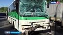 Появилось видеос места аварии в Уфе, где столкнулись два вахтовых автобуса