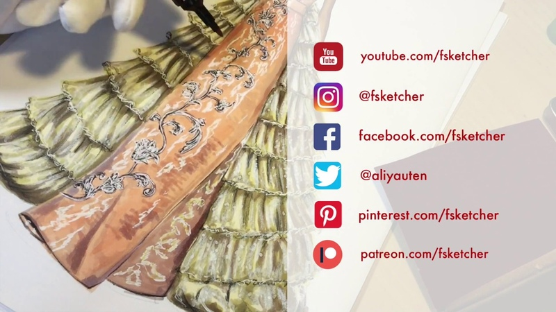GUO PEI F17 COUTURE. Moire Fabric | Fashion Drawing