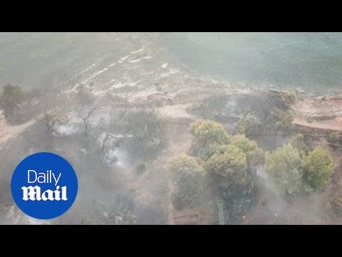 Drone footage shows devastation caused by Greece wildfires