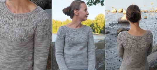 b62b6cd309a Пуловер с круглой кокеткой Tofino Sand - Вяжи.ру