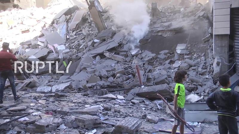 Палестинцы опубликовали видео разрушенного в результате израильских авиаударов отеля Аль-Амаль на западе г. Газа