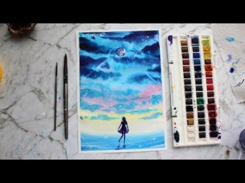 Watercolor Painting 'Sky Dance' ~ artbybee7