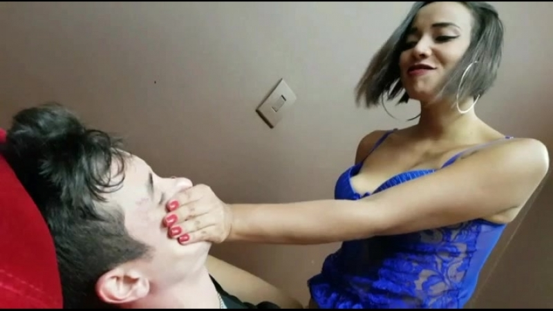 Woman handsmothering man - SHUT UP MY LOVE WHILE HUMILIATING YOU