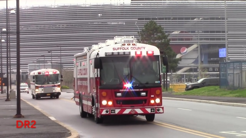 21 Medical Ambulance Buses Responding Into The Staging Area At A MCI Drill 4-25-17