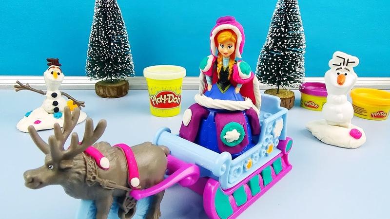 Playdoh Frozen Sled Adventure Princess Anna Olaf Sven Sparkle Play-doh Dress up Ana Elsa Sleigh