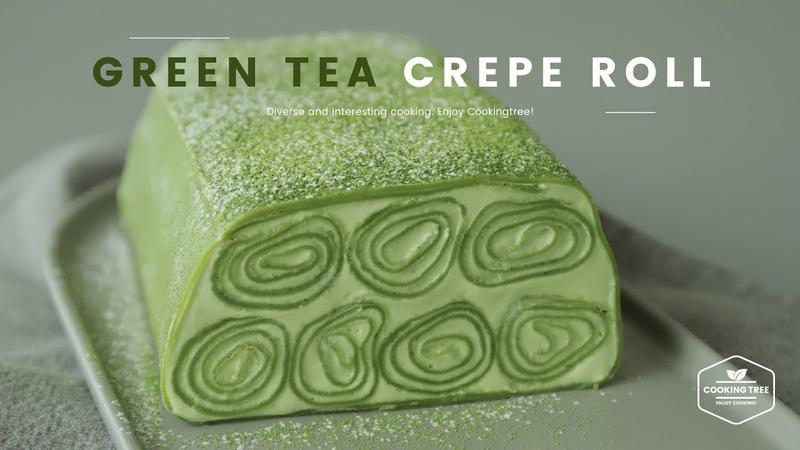 Lakomkavk Green tea Crepe Roll Cake Recipe Cooking tree