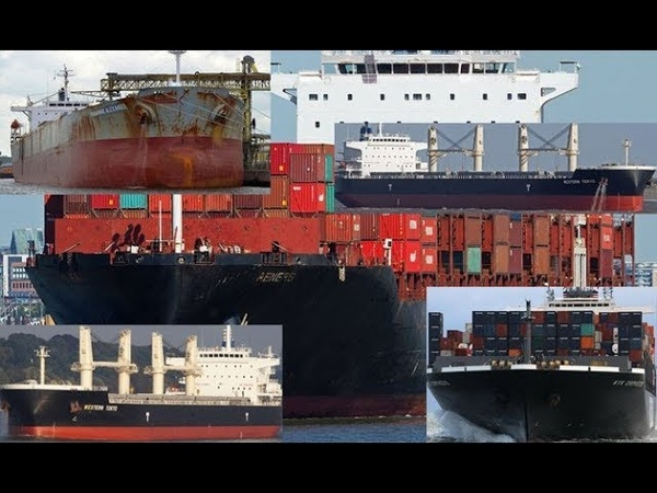 Aframax tanker vessel and container ship collision at suez channel