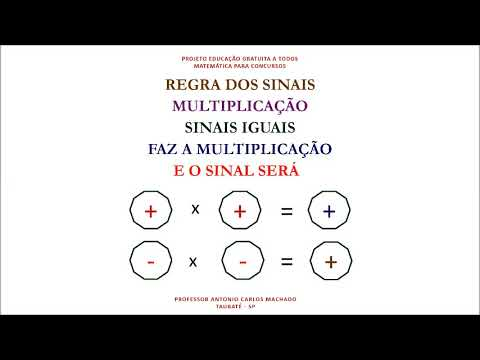 Regra Sinal Multiplicação e Divisão Matemática