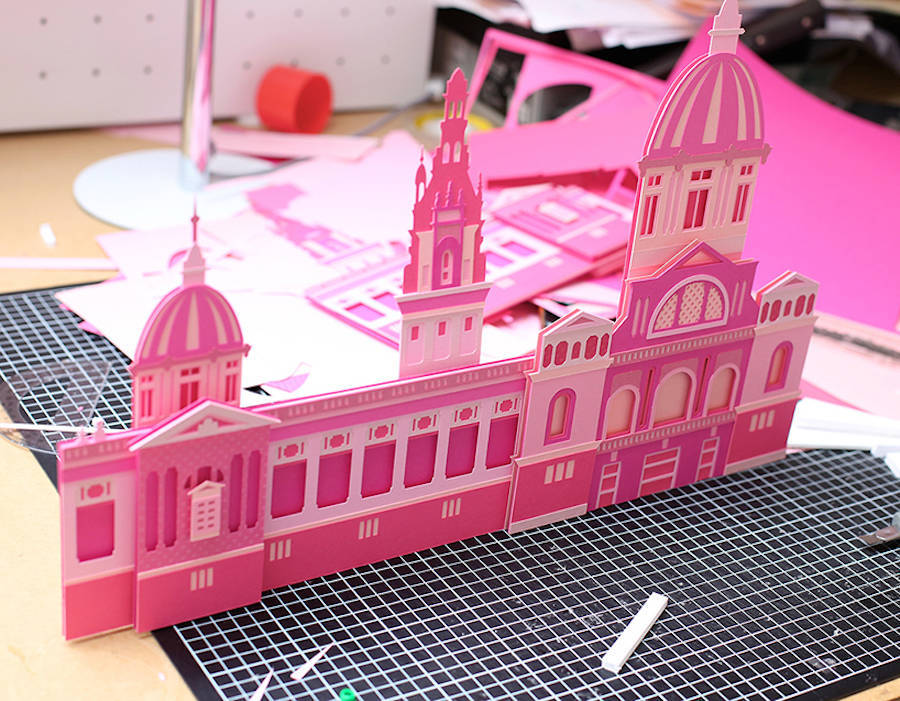 Craft Paper Cityscapes of Barcelona