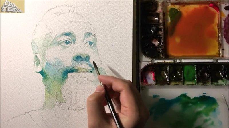 Watercolor Portrait Tutorial - 3X Video(Intermediate course 1/2) 인물수채화 중간단계 -3배속