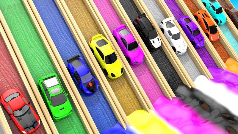 Colors for Children to Learn with Toy Super Cars with Color Water Sliders and Doors for Kids, Vehicl