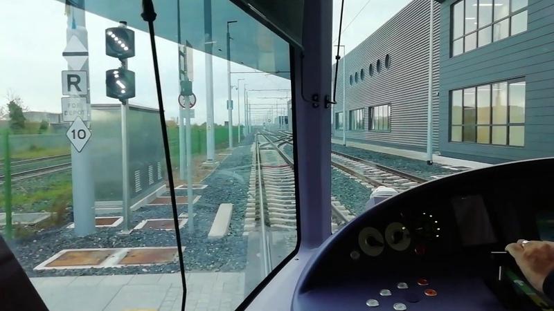 LUAS Dublin Tram. Full Journey on LUAS Green Line from Broombridge to Brides Glen.