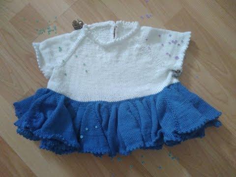 Детское платье ПОЛЛИ на 1-1,5 года спицами. Ч2 юбка