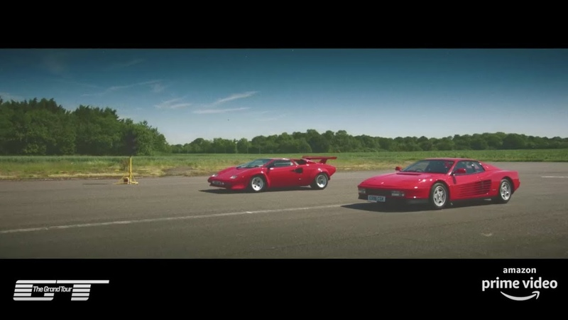 The Grand Tour Ferrari Testarossa v Lamborghini Countach Drag Race