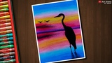 Egret Sunset Landscape Drawing for Beginners with Oil Pastels - step by step