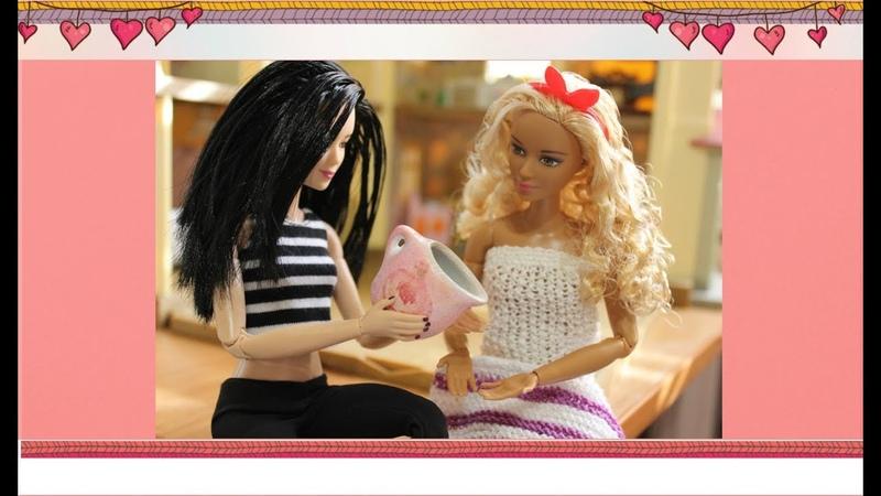 Миниатюра Посуда для кукол Кувшин с декупажем