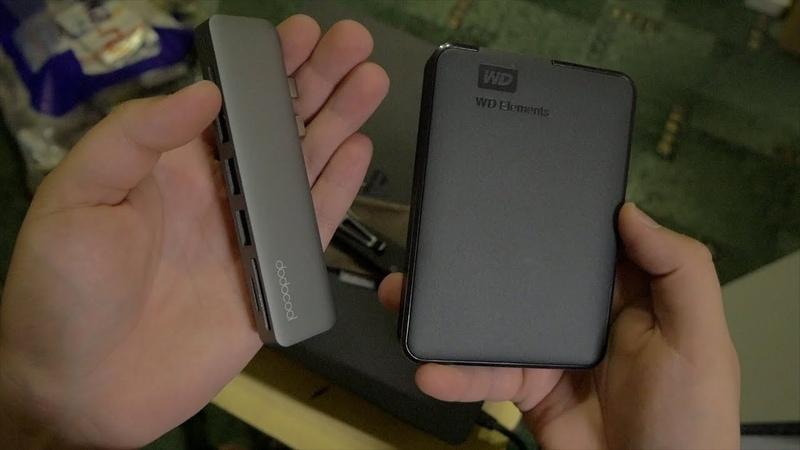 Dodocool DC53 USB хаб 7 в 1 для MacBook Pro и WD Elements 2TB распаковка полезной посылки с TomTop
