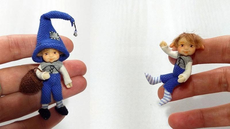 Miniature Gnome doll and his mobile capabilities Мой новый гномик и его подвижные возможности