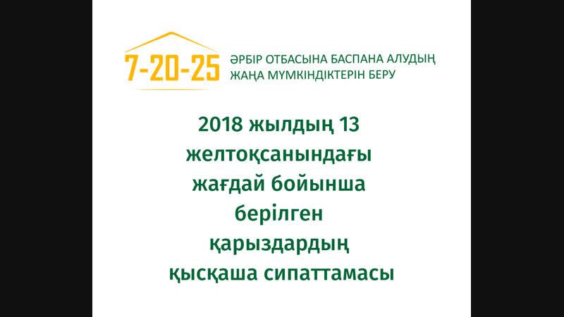 2018 жылдың 13 желтоқсанындағы жағдай бойынша берілген қарыздардың қысқаша сипаттамасы