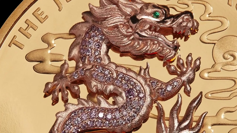 Jewelled Dragon 10oz Gold Coin Masterpiece